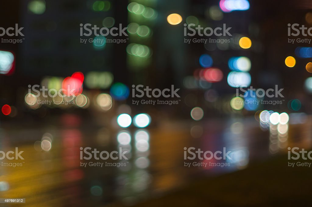 City street traffic motion with blurred bokeh lights stock photo