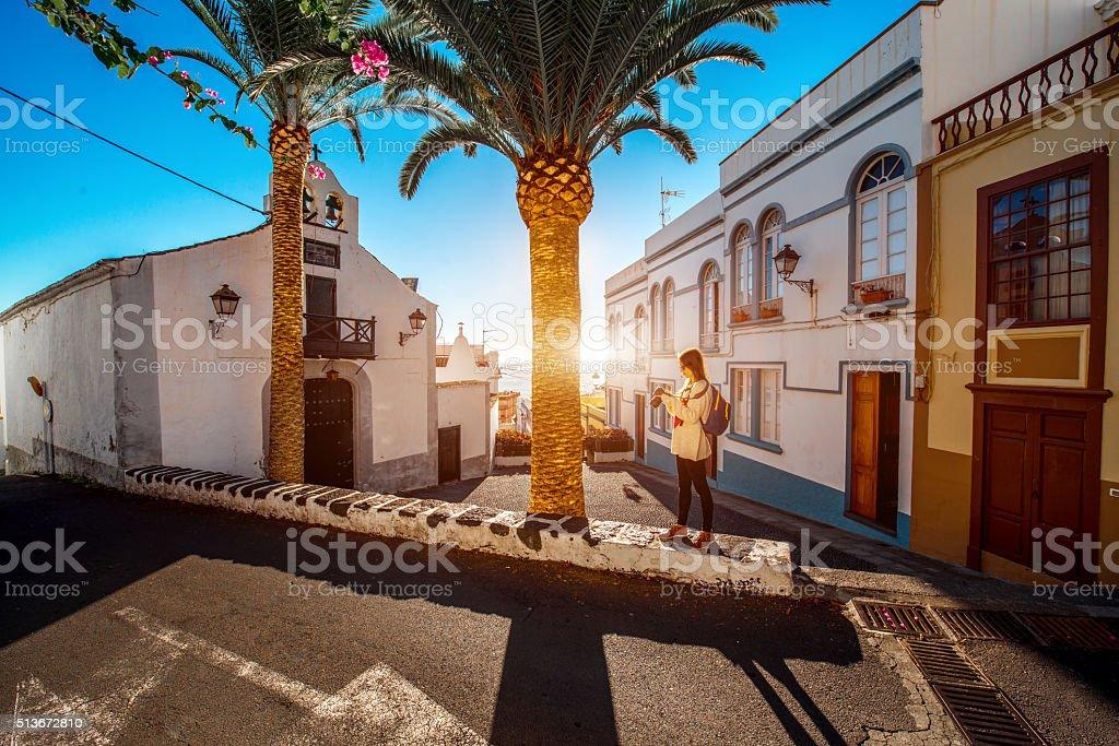 City street view in Santa Cruz de La Palma stock photo