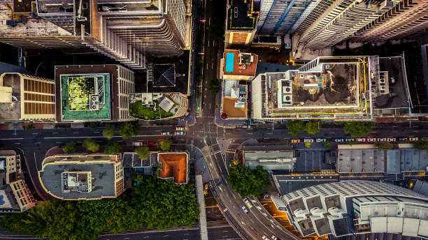 City streets at dusk as seen from above. Aerial photograph stock photo
