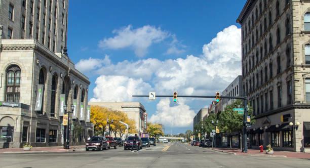 City Streets Of Downtown Saginaw Michigan stock photo