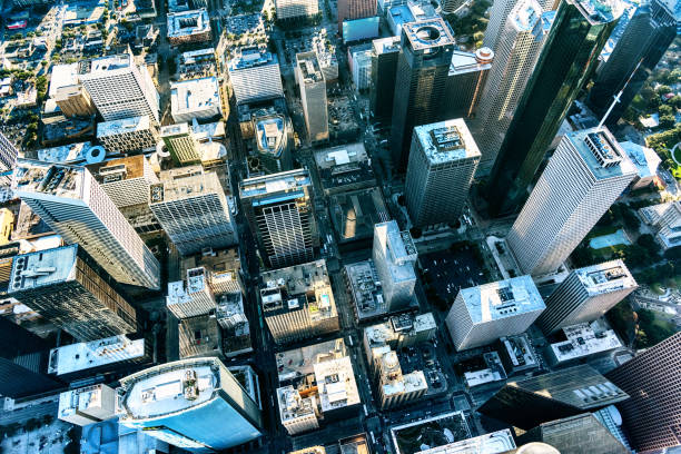 city streets of houston, texas from above - generic location stock pictures, royalty-free photos & images