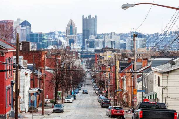 City streets - Pittsburgh, PA View from north Pittsburgh. Pennsylvania, USA pittsburgh stock pictures, royalty-free photos & images