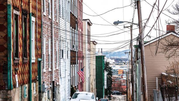 City streets - Polish Hill, Pittsburgh, PA stock photo