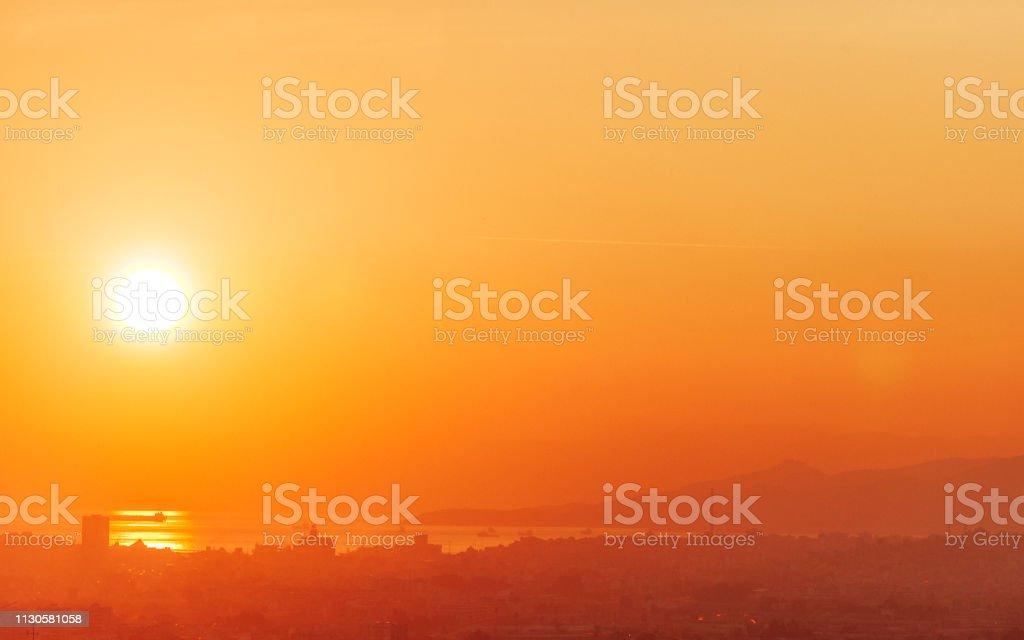 City sunset - Athens, Greece stock photo