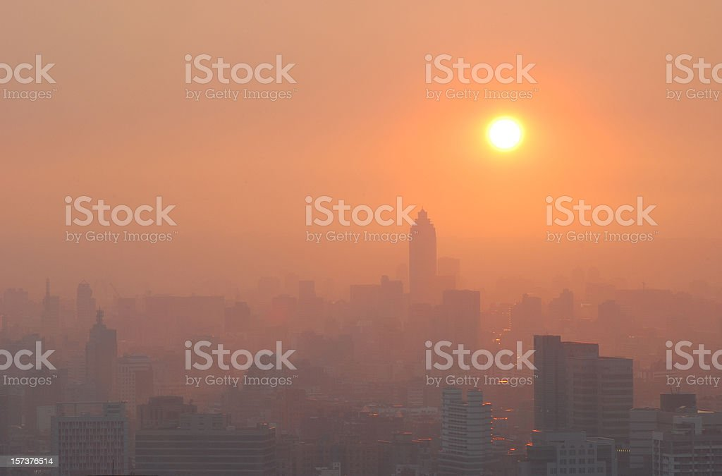 City Sunset in Smog stock photo