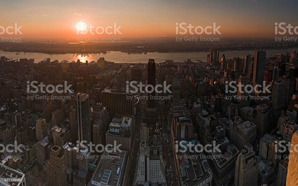 City sunset New York Hudson River royalty-free stock photo