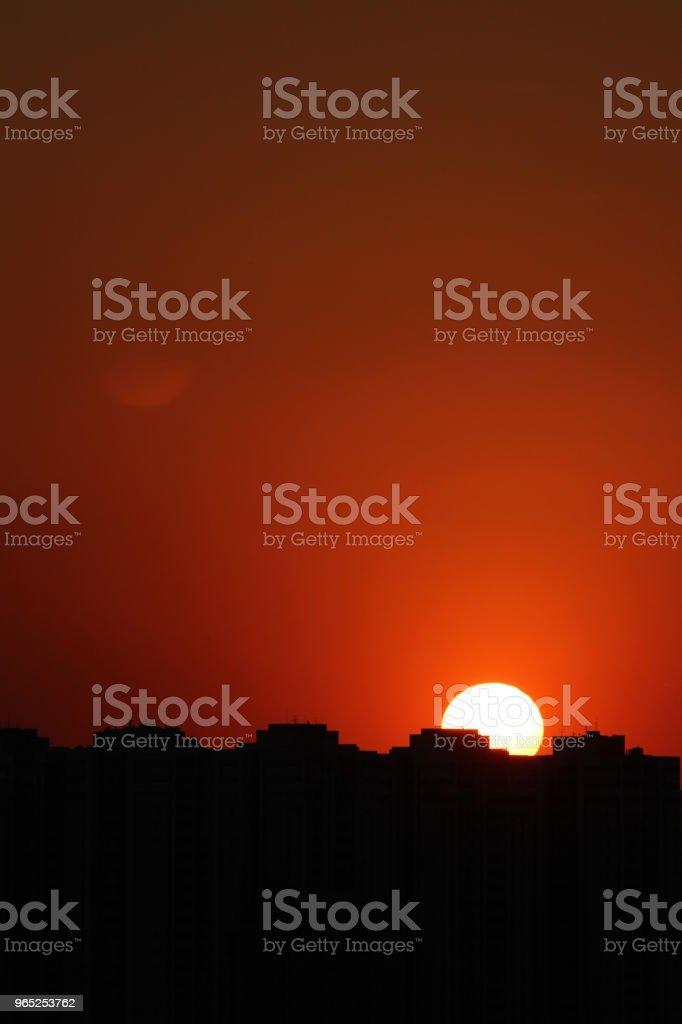 city sunset zbiór zdjęć royalty-free