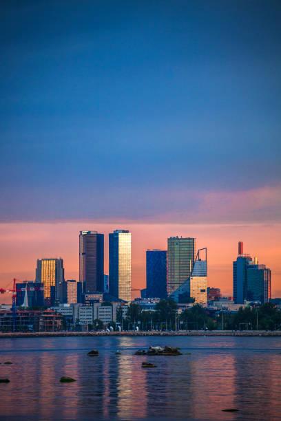 City sunset - Tallinn, Estonia stock photo