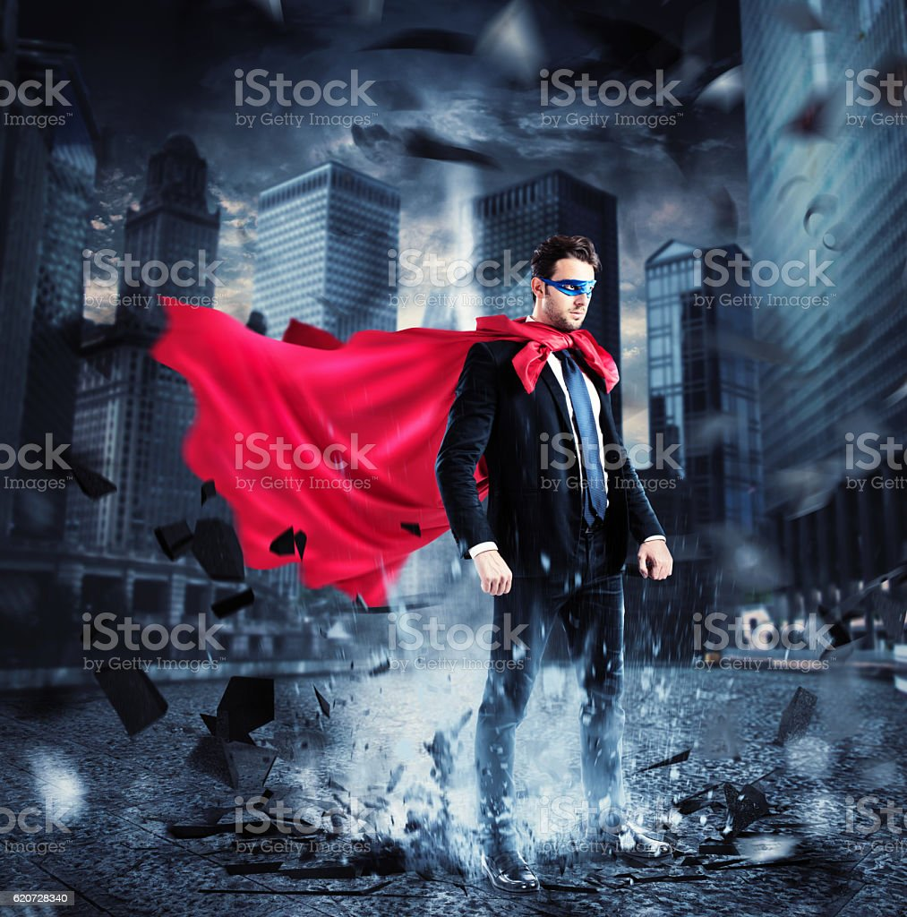 City superhero stock photo