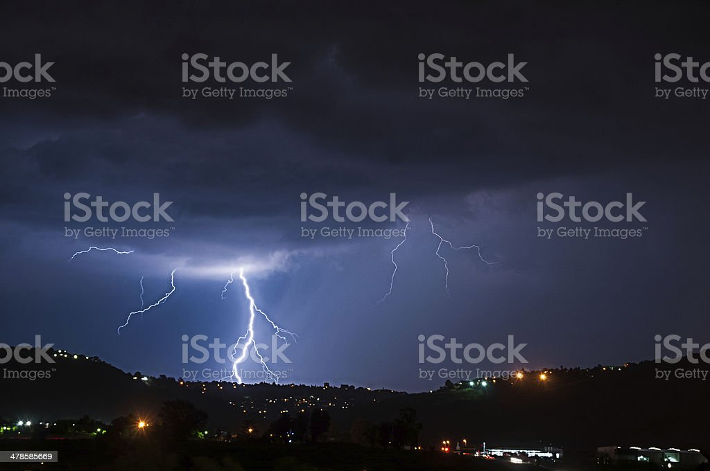 City Thiunder and Lightnign Storm royalty-free stock photo