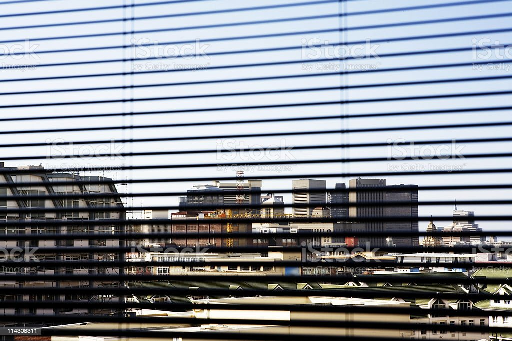 City through blinds royalty-free stock photo