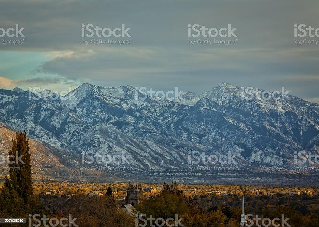 City to Mountains stock photo