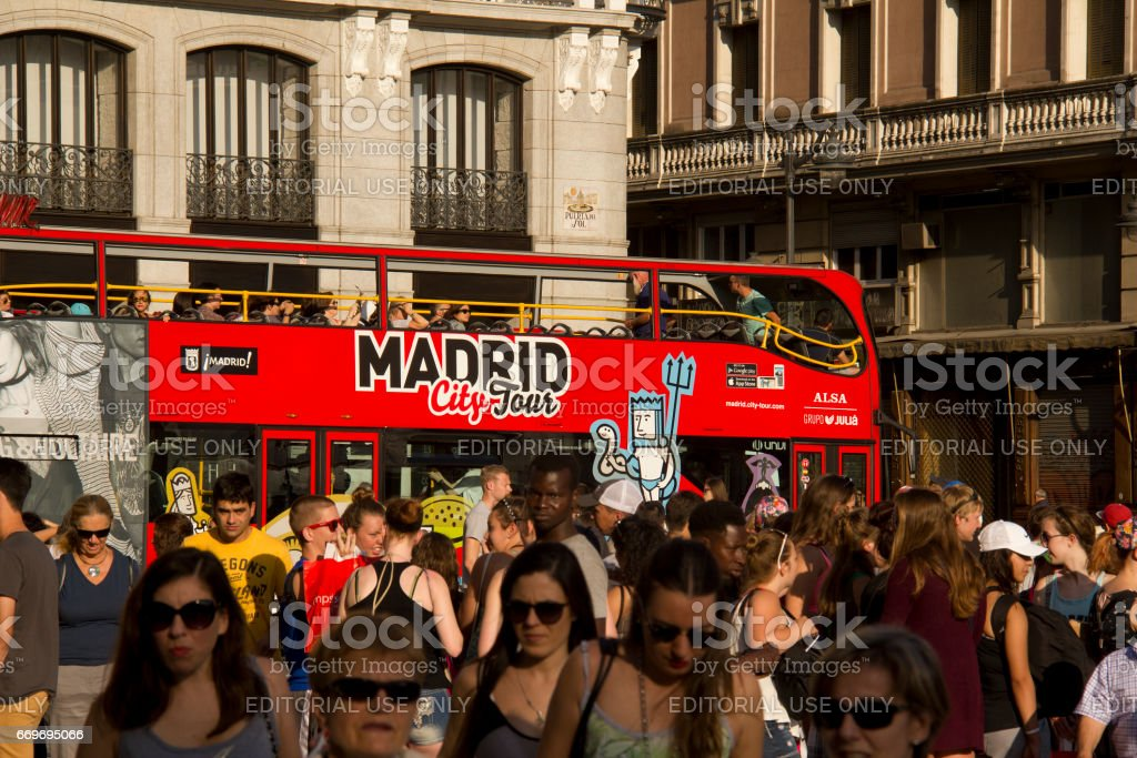City Tour bus in Madrid, Spain stock photo