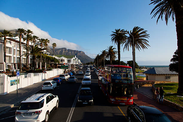 City tour on a double decker red bus, Sea Point stock photo