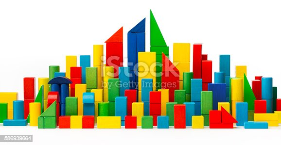 90871912istockphoto City Toy Blocks, Tower Building Color Houses, Wooden Town, White 586939664