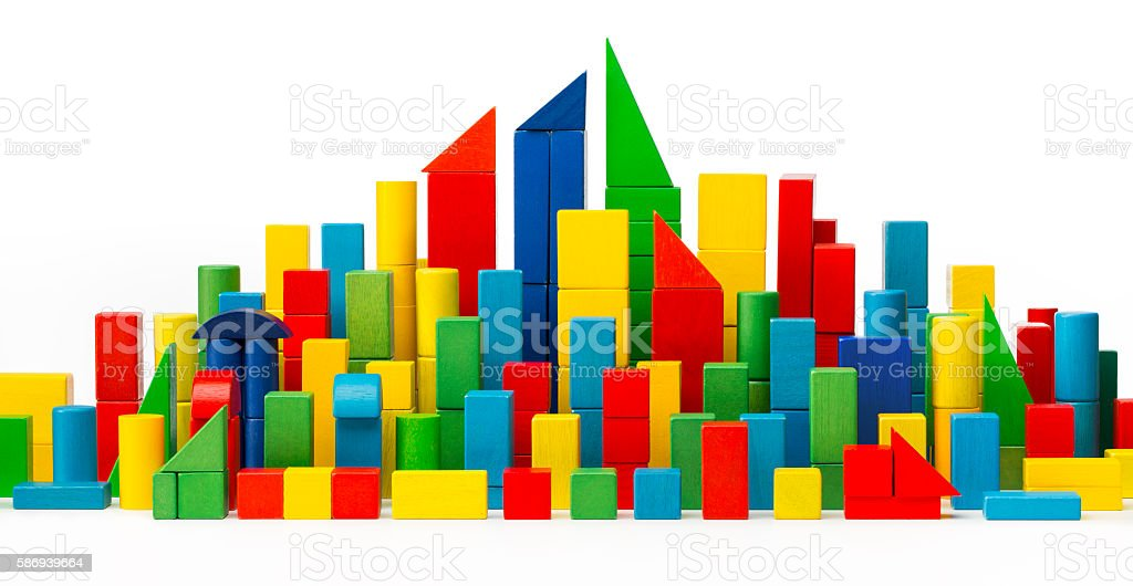 City Toy Blocks, Tower Building Color Houses, Wooden Town, White stock photo