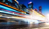Long exposure of cars traffic at night