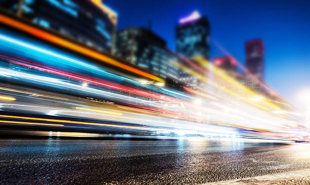 City traffic at night Long exposure of cars traffic at night long exposure stock pictures, royalty-free photos & images