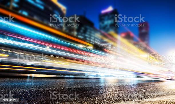 Long exposure of cars traffic at night