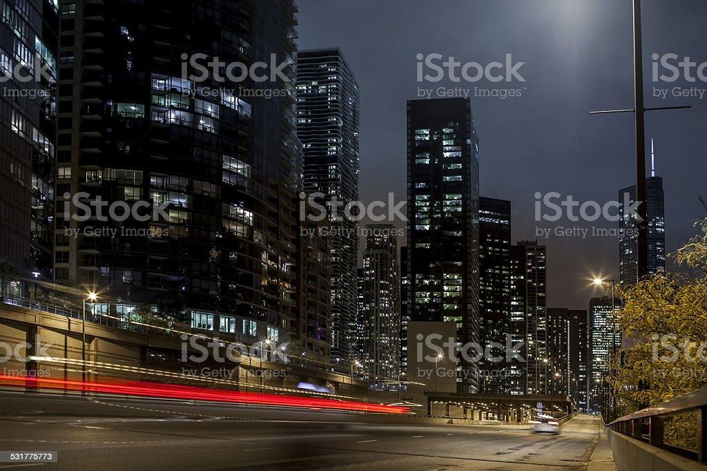 city traffic at night stock photo