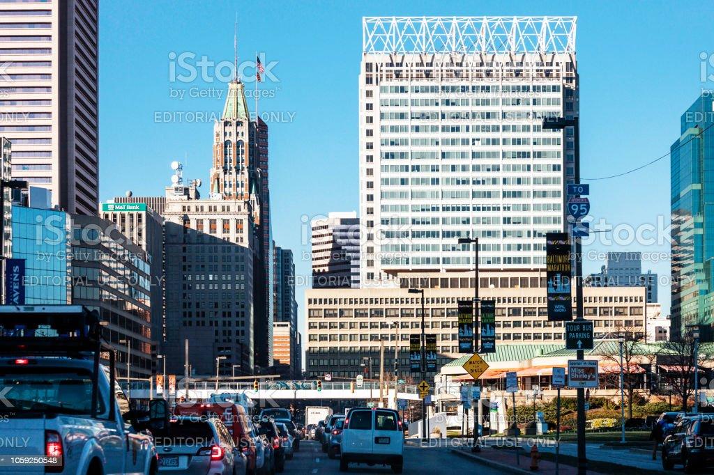 City traffic - Baltimore, Maryland stock photo