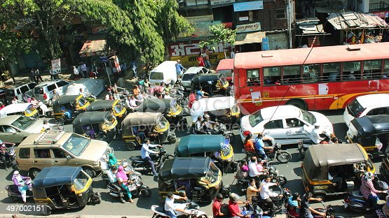 istock City traffic in India 497002151