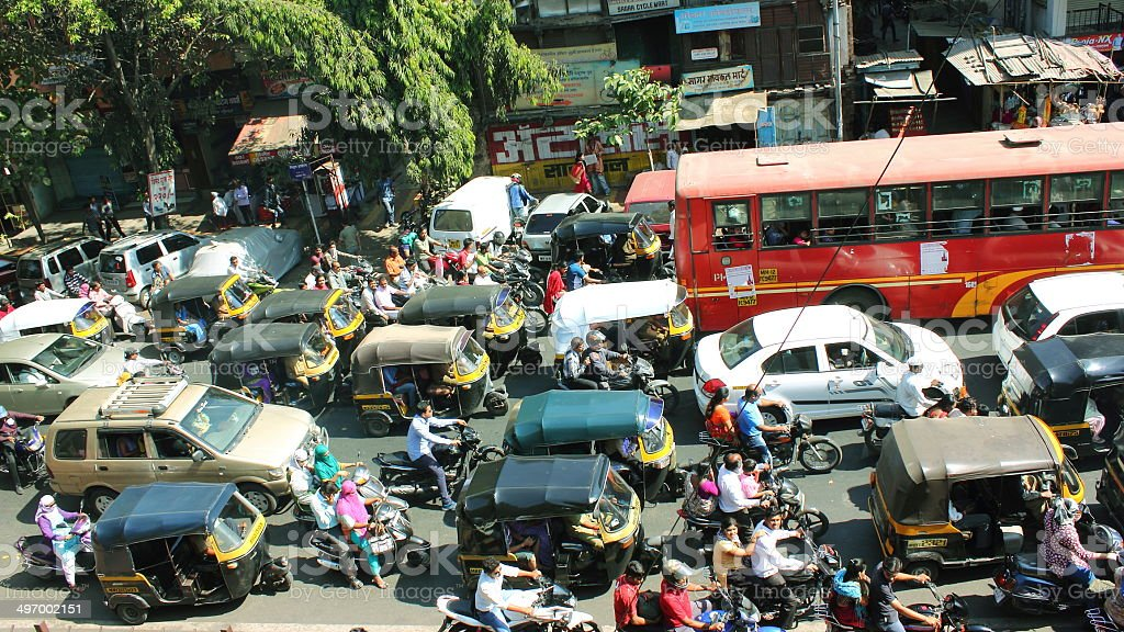 City traffic in India stock photo