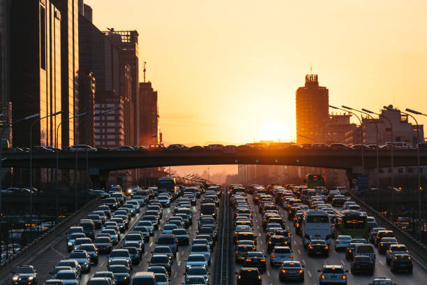 City Traffic Jam at sunset stock photo