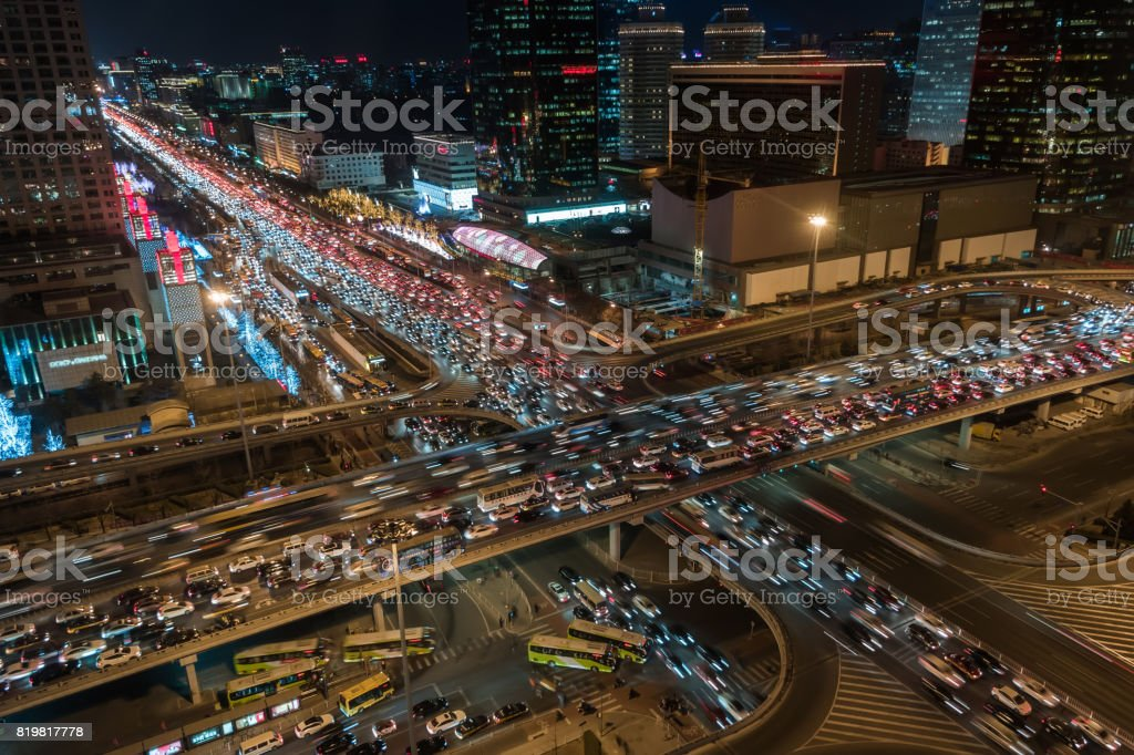 City Traffic Jam / Beijing, China stock photo