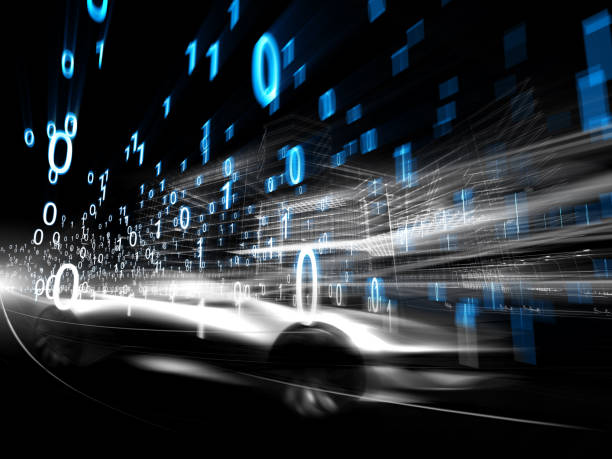city traffic of future - bit binary stock pictures, royalty-free photos & images