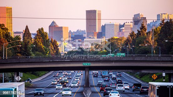 City traffic. Portland, Oregon, USA.