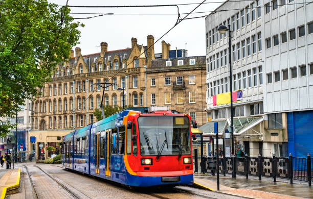City tram at Cathedral station in Sheffield, England stock photo