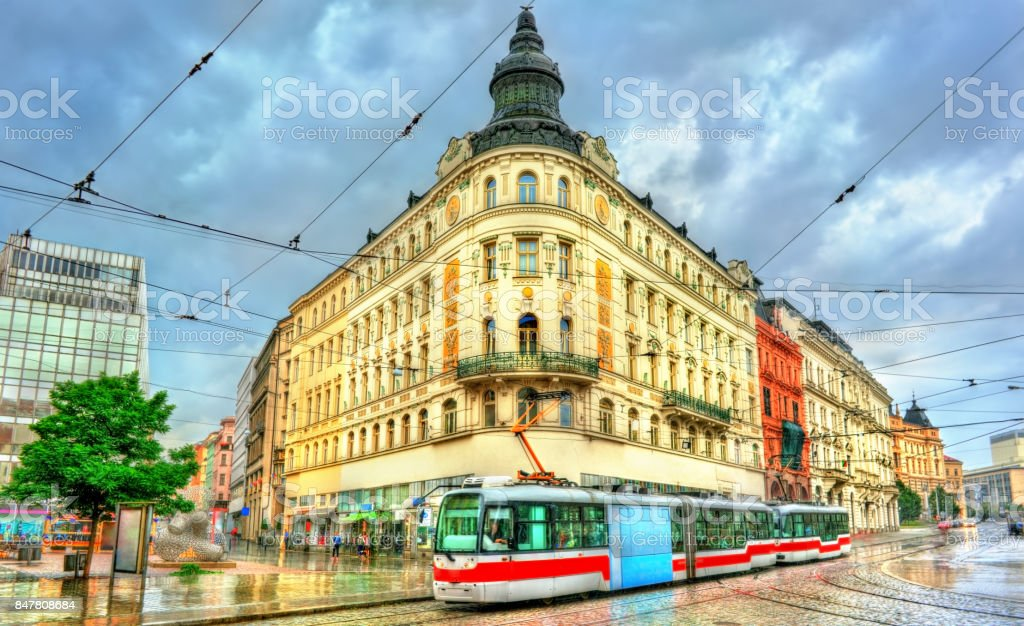 City tram in the old town of Brno, Czech Republic stock photo