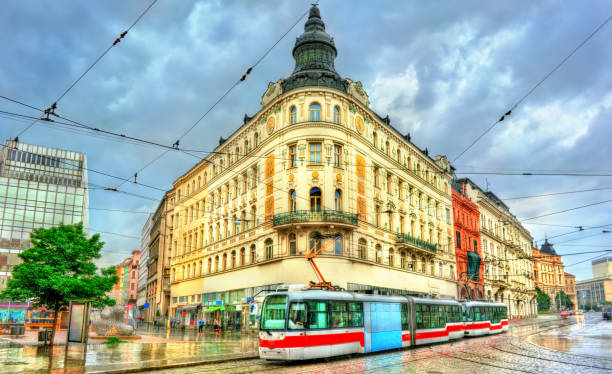 City tram in the old town of Brno, Czech Republic City tram in the old town of Brno - Moravia, Czech Republic brno stock pictures, royalty-free photos & images
