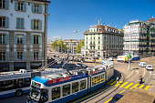 Zurich, Switzerland - September 13, 2016: City tram in the square of Zurich city, Switzerland
