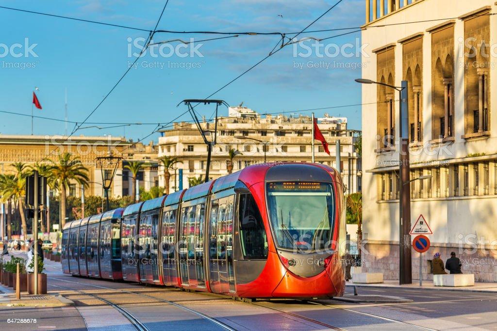 City tram on a street of Casablanca, Morocco stock photo