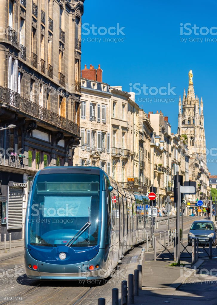 City tram on Cours Pasteur street in Bordeaux, France stock photo