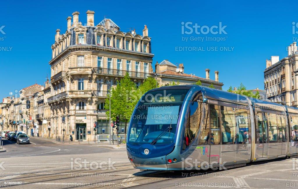 City tram on Place de la Victoire in Bordeaux, France stock photo