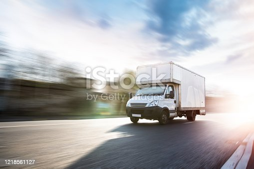 Lory city transport delivery in motion
