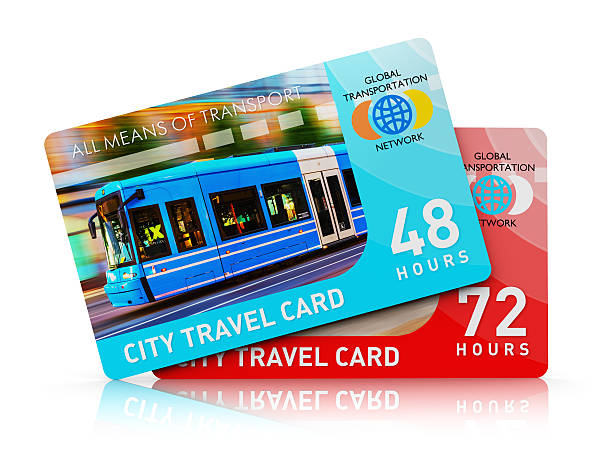 City transport travel ticket cards Creative abstract public transportation, tourism and passenger transport business concept: 3D render illustration of the set of color plastic city transport travel ticket cards isolated on white background with reflection effect train ticket stock pictures, royalty-free photos & images