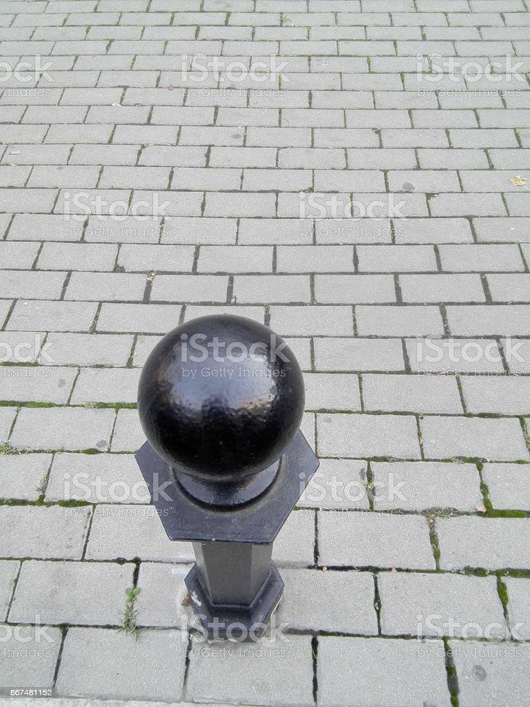 City  trotoar limiter pillars stock photo