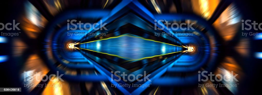 City tunnel at night in kaleidoscopic effect stock photo