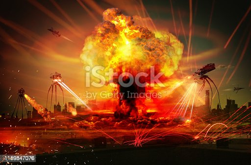 Earth under alien attack. Cities are under invasion of alien vehicles. Will the military power of the world stand up to this scenario? Who knows. Long-legged Alien vehicles are fighting the American army. A science fiction movie scene. World War 3.