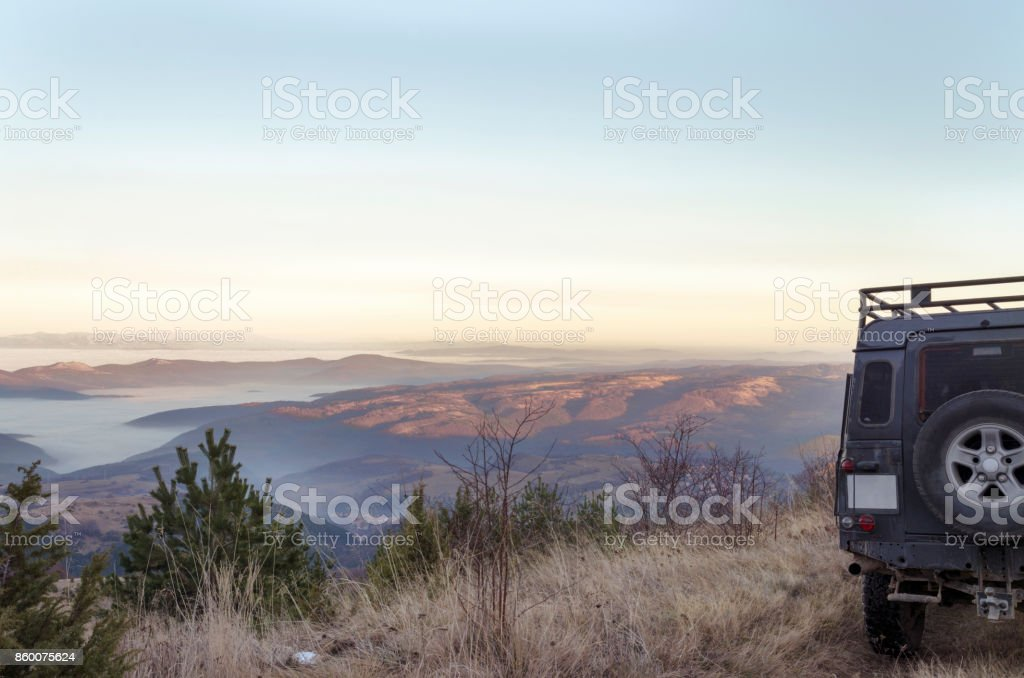 City Under The Clouds Mountain Off Road Snow stock photo