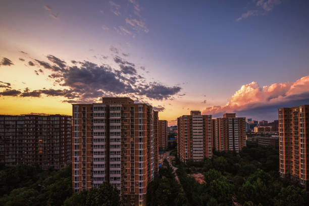 City Urban Apartment Buildings Residential District Sunset Sky Landscape Cityscape Asia Skyscrapers – Foto