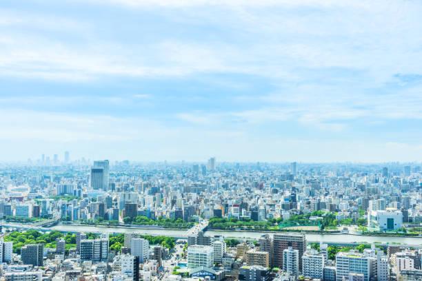 都市都市のスカイライン空撮日本で江東区 - 街 日本 ストックフォトと画像