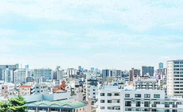 city urban skyline aerial view in koto district, japan Asia Business concept for real estate and corporate construction - panoramic modern city urban skyline bird eye aerial view under sun and blue sky in koto district, Tokyo, Japan town stock pictures, royalty-free photos & images