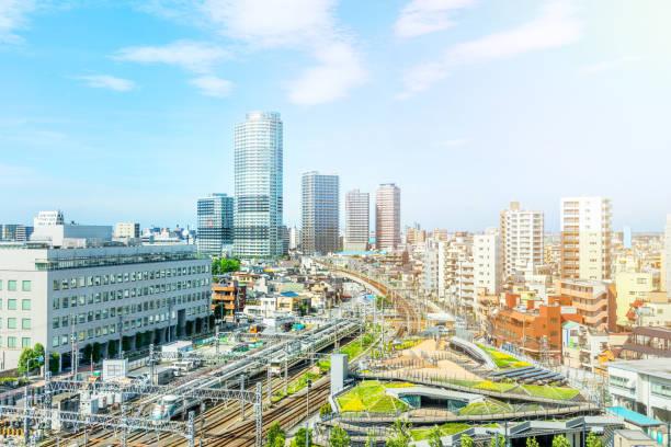 city urban skyline aerial view in koto district, japan stock photo