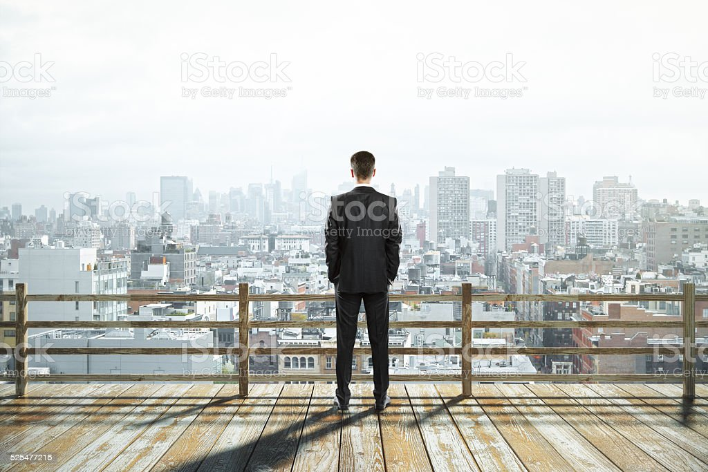 City view and businessman stock photo