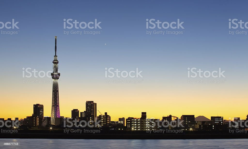 city view and tokyo sky tree , sihouette skyline stock photo